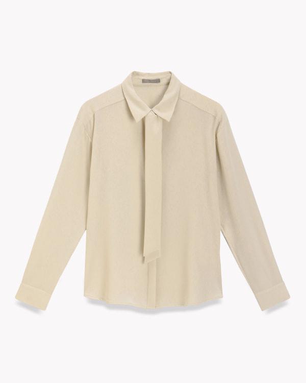 送料無料Heavy Pearl Klora【新色:ライトベージュ・ネイビー】クリーンな表情のボウタイ付きシャツブラウス。