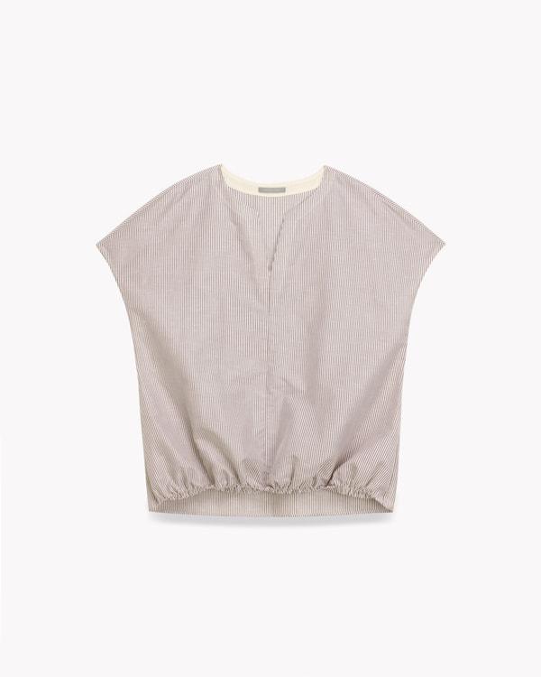 送料無料【スモール】Lino Stripe Janny PP Str【SMALL SIZE】【小さいサイズ】キーネックの半袖プルオーバーブラウス。