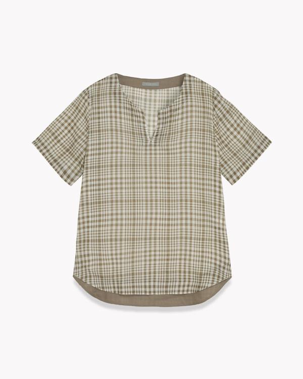 送料無料Multi Plaid Voile Gwyneth【オンラインストア・一部店舗限定商品】キーネックがデザインポイントの半袖プルオーバーブラウス。