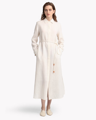 <Theory> 送料無料 Pure Linen Belt Shirtdress