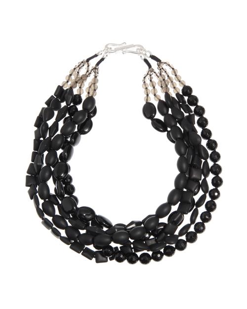 送料無料 煌びやかなパーツと、マットなモチーフをバランスよく組み合わせた六連ネックレス Kong qi Black Stone Necklace