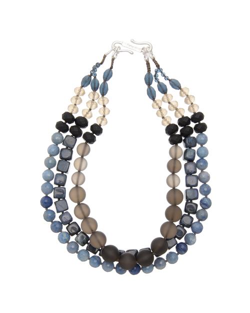 <Theory> 送料無料 つややかなパーツと、マットなモチーフをバランス良く調和させた三連ネックレス Kong qi Color Stone Necklace