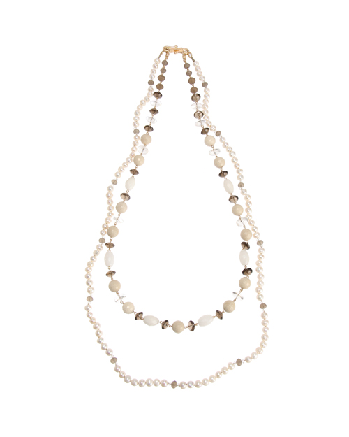 <Theory> 送料無料 ベージュカラーを基調としたナチュラルな色合いの二連ネックレス Kong qi Color Stone Necklace