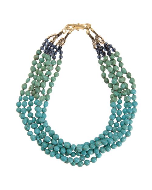 送料無料 二色のマグネサイトをバランス良く配した六連ネックレス Kong qi Color Stone Necklace