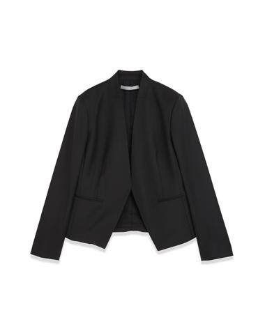 <Theory> 送料無料 【新色チャコール登場】シャープな衿のカッティングが美しい、ノーカラージャケット Executive Donna