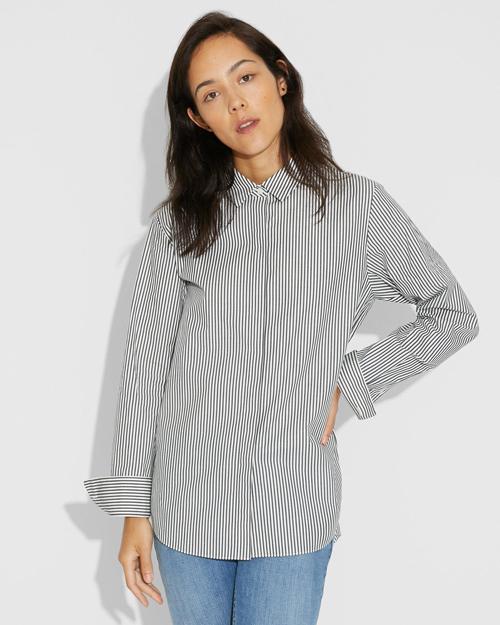 【Theory】Madison Stripe Bf Shirt